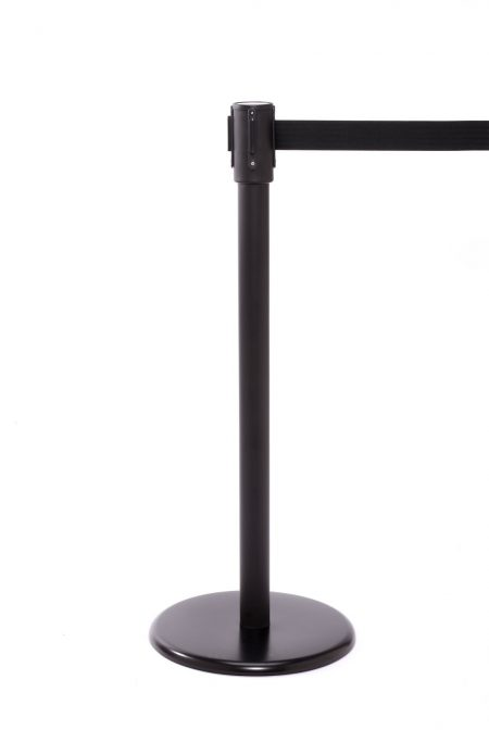 Black retractable stanchion
